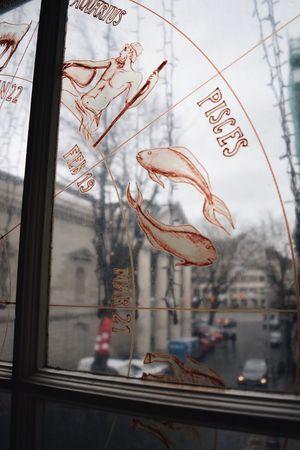The Shop Around The Corner Shop Window Starsign Fish Museum Decal