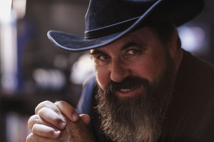rought man with beard Cowboy Hat Motorcyclist RudeBoy Adult Beard Close-up Day Focus On Foreground Hat Headshot Indoors  Lifestyles Looking At Camera Mature Adult Mature Men One Person People Portrait Real People Rought Rude Toughts