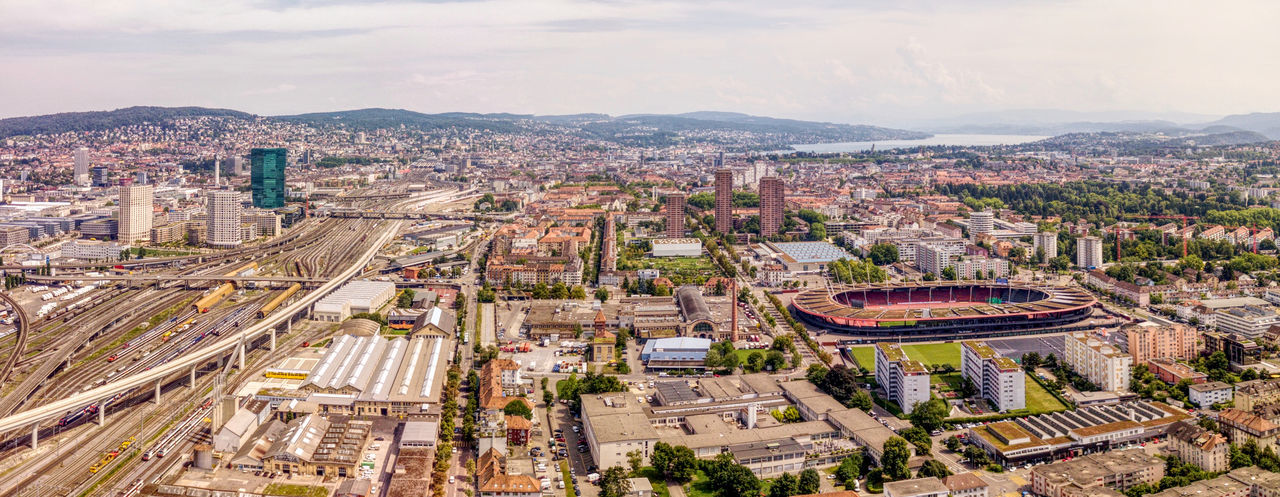 Drone  Zürich Aerial Photography Aerial View Architecture Building Exterior Built Structure City City Life Cityscape Crowded Day Downtown District Dronephotography High Angle View Modern People Road Sky Skyscraper Travel Destinations Urban Skyline