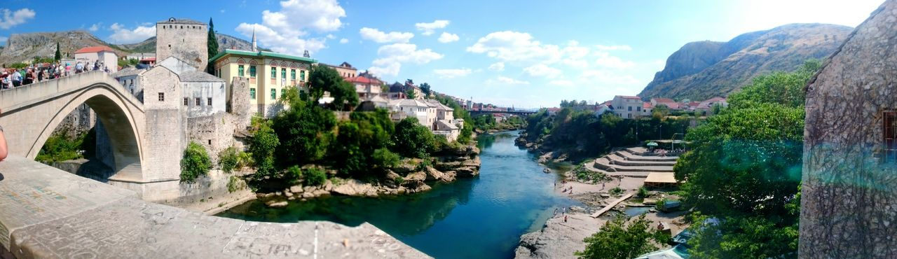 Mostar Mostar Bridge Stari Most Unesco World Heritage Tourism Built Structure Water My Year My View High Angle View Sky River Day Arch Cloud Outdoors Waterfront Cloud - Sky Stone Material Tranquility No People Neretva River Footpath Scenics Bosnia And Herzegovina Cliff Diving