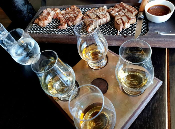 Whisky Tasting Steak Steak And Whisky Peated Whisk Samsons Paddock Glass Drink Food And Drink Refreshment Drinking Glass Table High Angle View Perfection