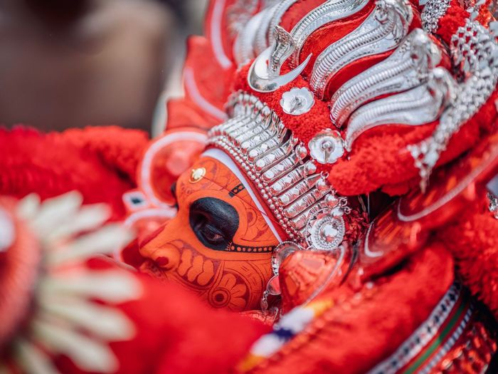 Theyyam of Kannur - Kerala / India Travel Destinations Travelling Photography Kerala India Travel Incredible India Kannur Man Kerala Portraits Theyyam Portraiture Theyyams Of Kannur Indiapictures Portrait Portrait Photography Portrait Of A Man  Incredibleindia Sacred Close-up Red Textile Pattern Human Body Part Art And Craft Focus On Foreground Celebration Selective Focus People Traditional Clothing Craft
