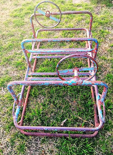 Lieblingsteil Vintage Antique Vintage Toys Vintage Playground Equipment Playground Outdoor Play Equipment Vintage Play Steering Wheel Iron Metal Rusty Used Oldschool Old Ride On Imagination Childhood Play Children Wheels Play On Jungle Gym Made To Last Outdoor Playtime