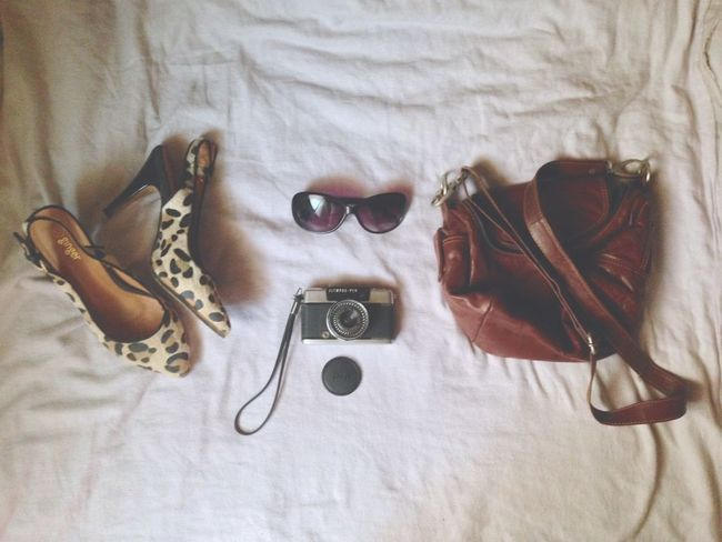 Day Out. ~ OlympusPEN Camera Brown Bag Slingbag Leopard Print Stilletos Shades Glares Day Out