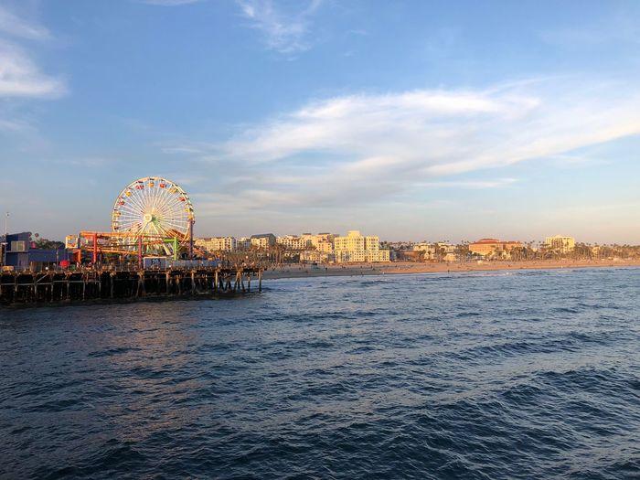 …at #SantaMonicaPier! Pacific Ocean Pier Ferris Wheel Coast Sky Cloud - Sky Built Structure Water City