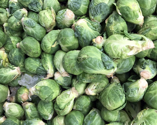 Full Frame Shot Of Brussels Sprouts At Market For Sale