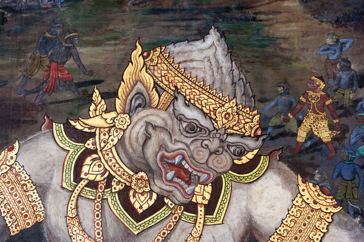 Details of the wall paintings depicting the myth of Ramakien in the Wat Phra Kaew Palace, also known as the Emerald Buddha Temple. Bangkok, Thailand. Architecture Bangkok Myth Thai Thailand Wall Wall Painting Wat Phra Kaew Art Buddhism Decoration Landmark Mythology Religion Royal Palace Travel Destinations