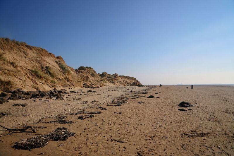 Formsby Beach Liverpool Formsby Beach Sky Land Sea Beach Water Scenics - Nature Tranquility Clear Sky Sand Beauty In Nature Tranquil Scene Copy Space Nature Rock No People Rock - Object Solid Non-urban Scene Blue Surface Level Arid Climate