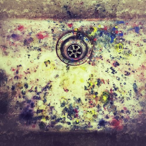 Filthy paint covered artists studio sink and plug hole Metal Rusty No People Outdoors Close-up Day Dirty Sink Artist artist studio Paint Mark