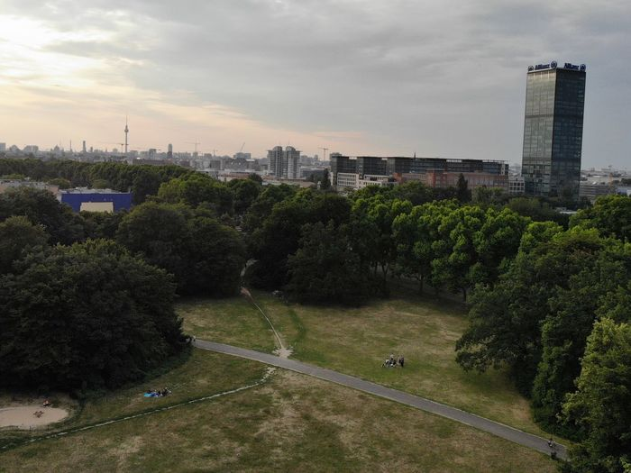 Evening in the Treptower Park Allianz Tower Treptower Park Berln Architecture Building Exterior Built Structure Sky City Cloud - Sky Plant Cityscape Tower High Angle View Landscape