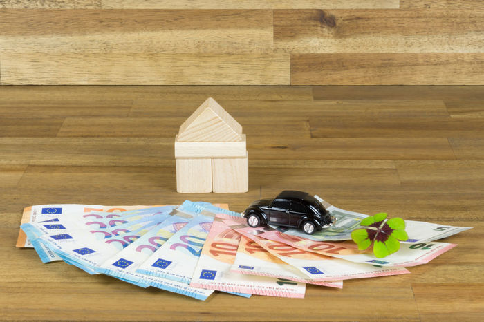 Clover Construction Financial Four-leaf Clover Luck Lucky Money Money Money Building Car Close-up Day Euro Four Leaf Clover House Indoors  Large Group Of Objects Money No People Paper Currency Prize Real Estate Saving Toy Wood - Material Wooden Background