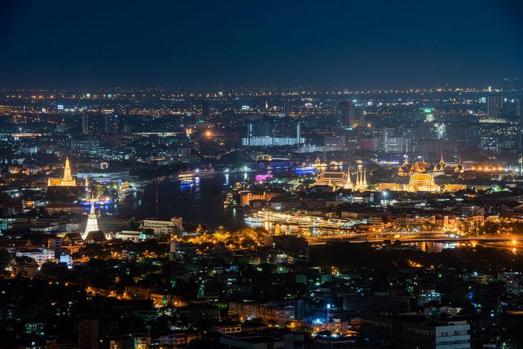 Panorama view of night cityscape bangkok