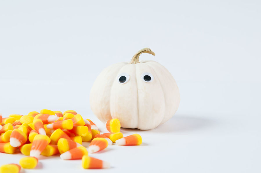 Halloween Candy Candy Corn Fall Food Jack-o-lantern No People Pumpkin Studio Shot Treat White Background White Pumpkin