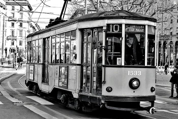The old time... Retro Myworld SamirAzab Photographer Milano ArtWork Artistic Expression Lifeisbeautiful B/w Series Tram Old City Followme