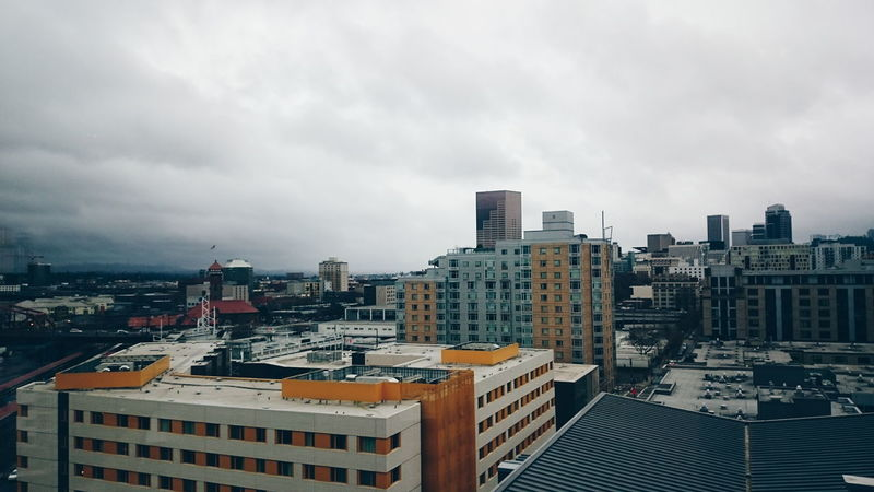 Cityscapes Urban Perspectives Urban Landscape City Portland Storm Clouds Stormy Weather Clouds And Sky Skyscrapers
