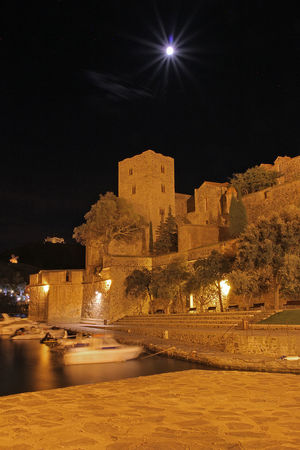Architecture Building Exterior Built Structure Collioure, France Fort History Illuminated Lune Night No People Nuit Outdoors Port Royal Sky Star - Space Travel Destinations