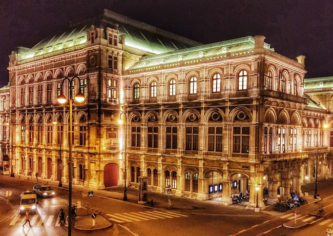 Architecture Night Illuminated Built Structure Building Exterior Travel Destinations City Outdoors Arts Culture And Entertainment Architectural Column Sky Vienna Austria The Architect - 2017 EyeEm Awards