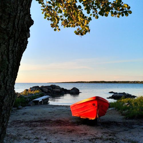 A little red boat in the sunset Sweden Öland Water Tree Sea Nautical Vessel Beach Clear Sky Red Sunset Sand Sky Coastline Ocean Calm Bay