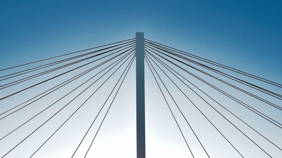 I like this bridge and its details 3XSPUnity Exceptional Photographs EyeEm Best Shots Minimalist Architecture Taking Photos The Week On EyeEm Abstract Architecture Blue Bridge - Man Made Structure Built Structure Clear Sky Connection Day LINE Low Angle View Minimalism Minimalobsession No People Outdoors Sky Still Life Suspension Bridge Symmetrical The Graphic City