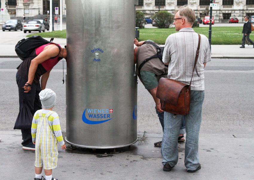 Drinking Water Adult Casual Clothing Day Full Length Lifestyles Men Outdoors People Real People Standing Streetphotography Togetherness Water