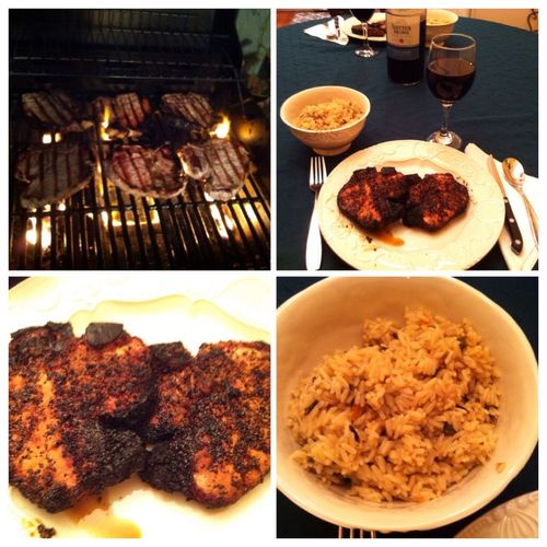 Grilled pork chops with spanish rice. Served with a bottle of my homemade 2012 Italian Chianti ICanCookMyAssOff Nomnombomb TheExpensiveWinos MyFoodPics