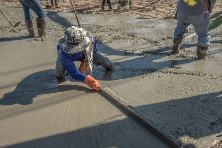 Construction Flooring Foundation Industry Pouring Ready Textured  Work Worker Backgrounds Builder Cement Concrete Contractor Equipment Infrastructure Mixed Mixing Pattern Plasterer Project Reinforcement Site Structure Wet