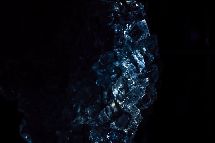 Close-Up Of Ice Crystals Against Black Background