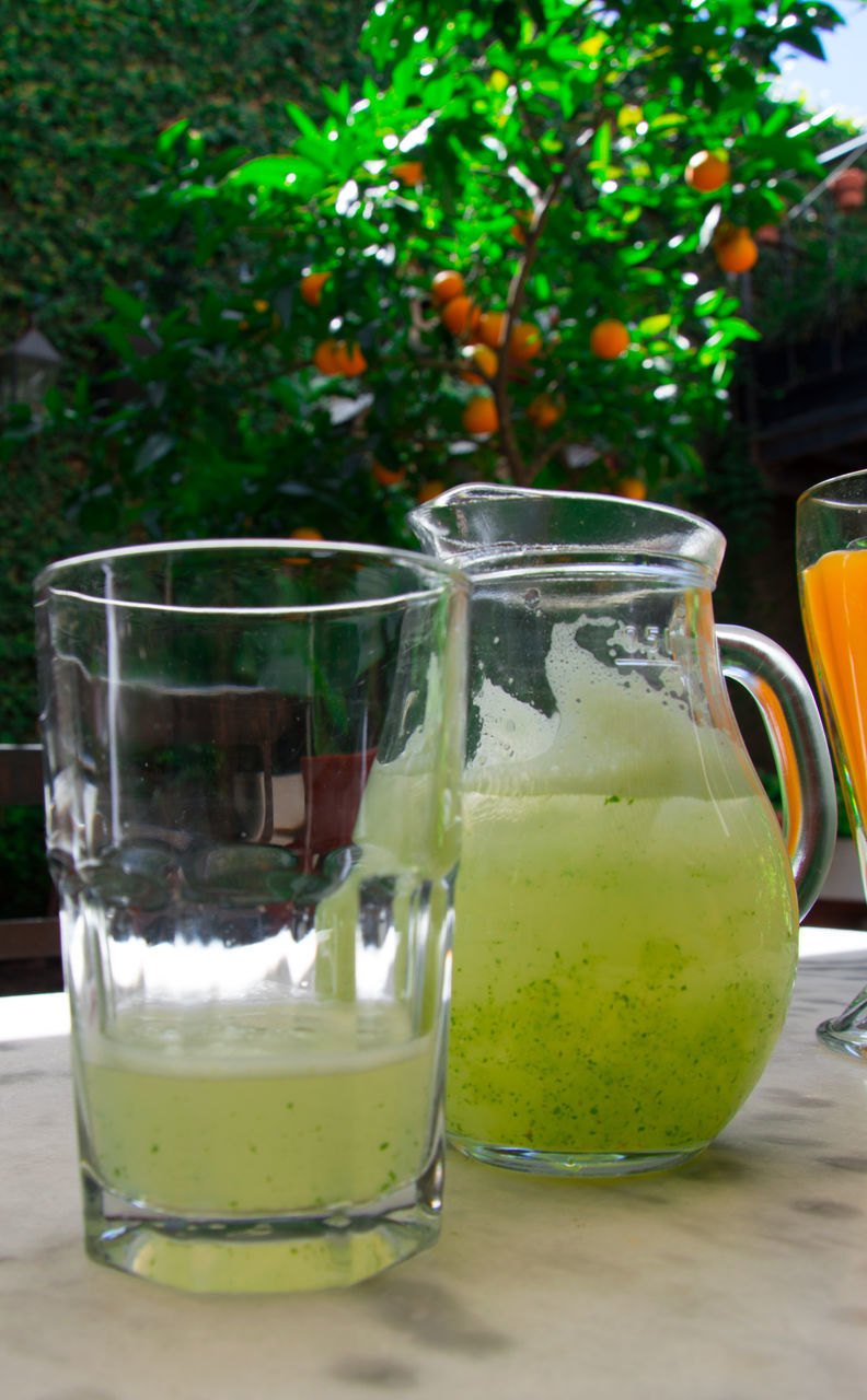 freshness, drinking glass, table, drink, healthy eating, food and drink, refreshment, green color, fruit, no people, lemonade, vegetable, smoothie, close-up, day, food, indoors, blended drink, ready-to-eat