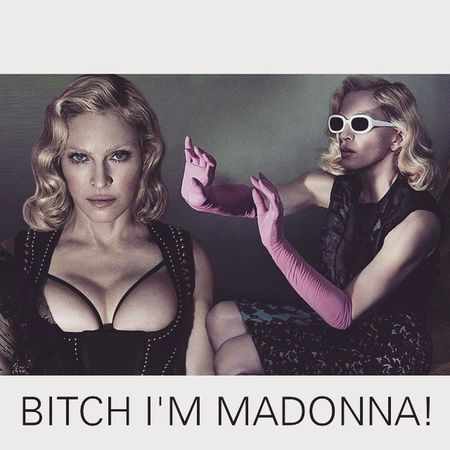 @madonna You gonna love thizzz, you can't touch thiz! Cuz i'm a bad bitch!!! BITCHI 'MMADONNA Versace DONATELLA Queen We go hard or we go home We gon do this all night long We get freaky if you want Naaaaa Naaaa Naaa Naaa We go hard or we go home We gon do this all night long We get freaky if you want Bitch I'm Madonna madonna mdna iconic