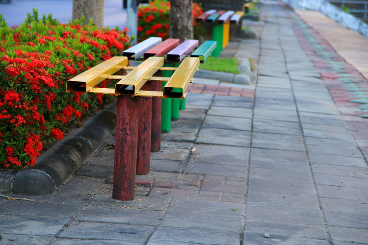 steel bench at