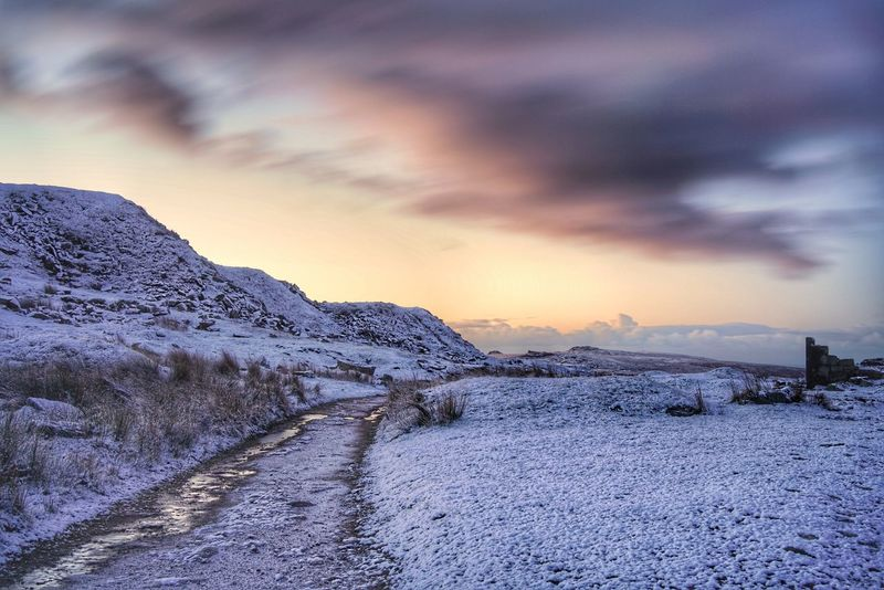 Snow Cold Temperature Sunset Dramatic Sky Mountain Winter Cloud - Sky Landscape Nature Weather Sky Scenics Beauty In Nature Ice Dusk Outdoors No People Frozen Polar Climate Tranquility sony a7RII Dartmoor National Park Landscape_photography