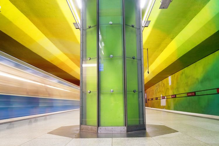 Yellow Transportation Illuminated Indoors  Green Color Subway Station Rail Transportation Underground Public Transportation No People Architecture Day Underground Station Train Germany