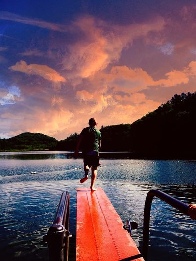 Pm swimming Water Sky Full Length Real People Nature Rear View Cloud - Sky Sunset Leisure Activity Lake Outdoors My Best Photo