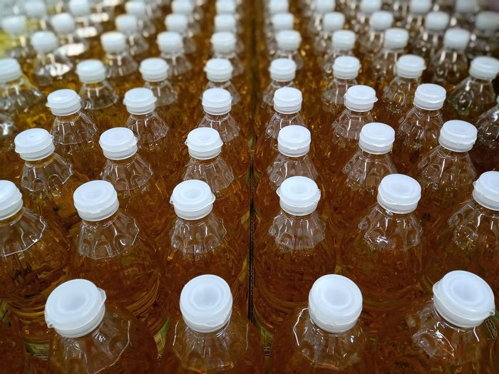 High angle view of bottles