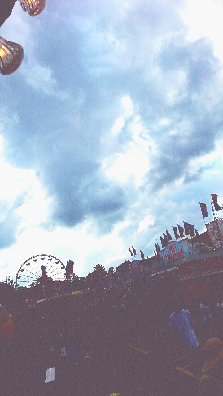 sky, cloud - sky, day, low angle view, outdoors, large group of people, real people, men, people