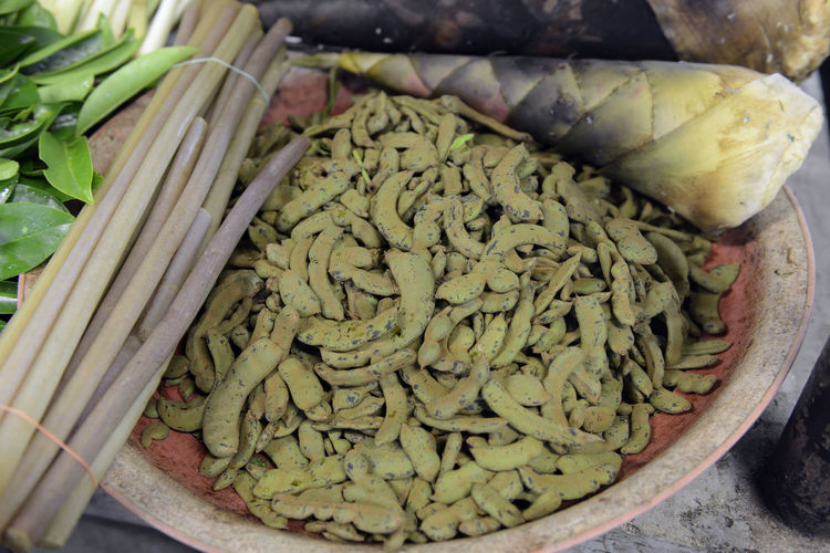 High angle view of tamarind in container