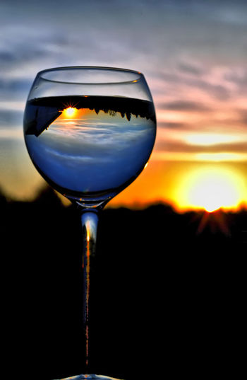 Cheers, Mr. Sun A New Perspective On Life Glass Sunset Alcohol Sky Refreshment Food And Drink Drink Transparent Wineglass Glass - Material Wine Nature Close-up Cloud - Sky No People Orange Color Freshness Beauty In Nature Still Life Reflection Outdoors