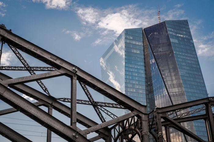 Bank Bridge - Man Made Structure City Cityscape Ecb Europe Glass Main No People River Sky Steel Urban Skyline