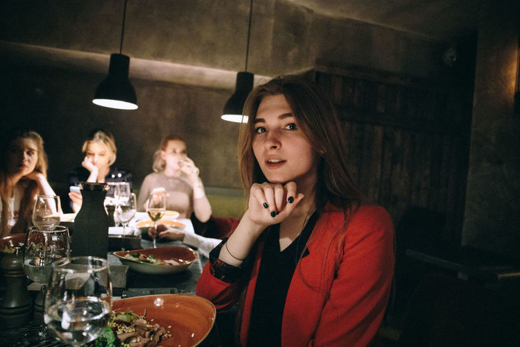 Group Of People Real People Table Food And Drink Lifestyles Sitting Indoors  Young Adult Togetherness Restaurant Women Wine Bonding Young Women Drink Business Alcohol Friendship Waist Up Adult Glass Russian Girl