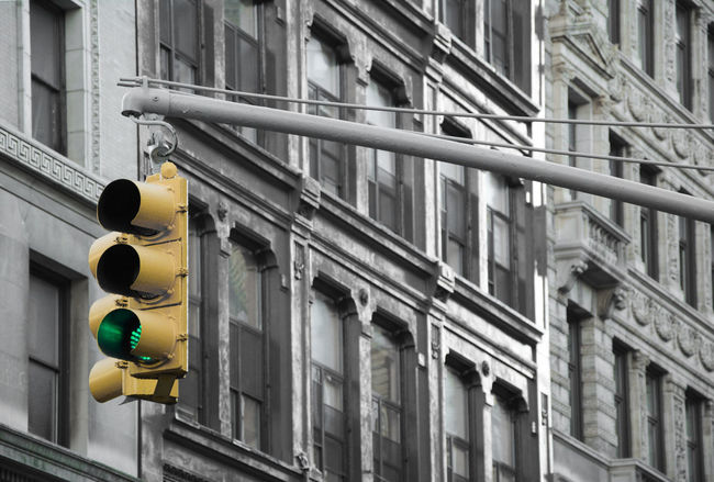 Green Light in NY street lights... Architecture City Life Greenlight Light Lookingup New York Showcase: February Street Streetphotography Lowermanhattan Urban Yellow Q for quiet The Street Photographer - 2016 EyeEm Awards Fine Art Photography Paint The Town Yellow