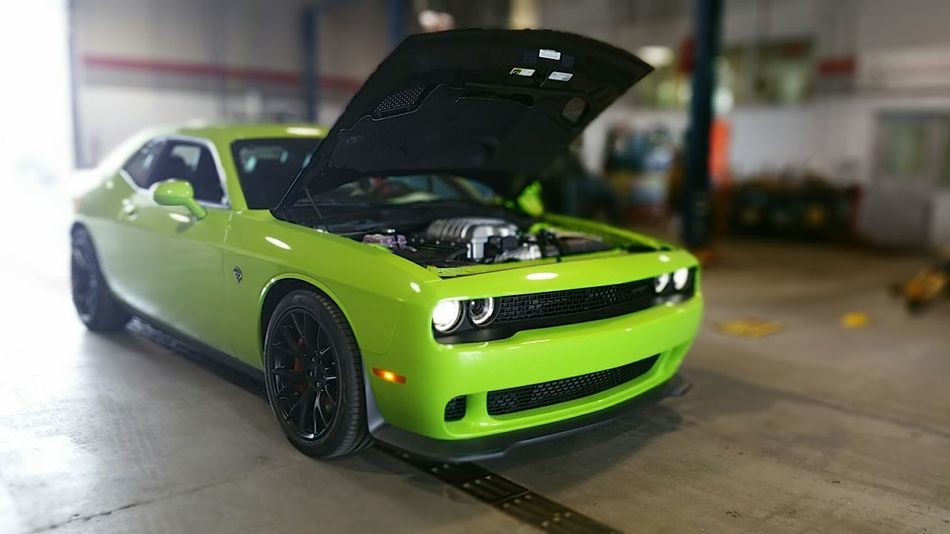 Performance Dodge Challenger Hemi No People Car Showroom Indoors  Close-up Green Color Racecar Angle Green Service Station Service Center Hellcat Srt8