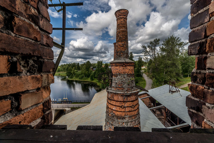 A view from the top of the furnance in the old ironworks Brick Wall Iron Built Structure Cloud - Sky Day Furnance No People Water