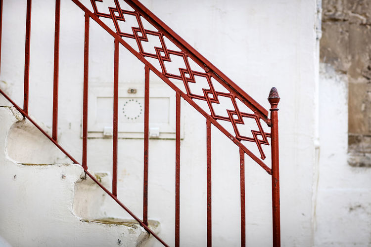 Stairs Ostuni Built Structure Architecture Metal Day Red No People Railing Staircase Safety Security Wall - Building Feature Outdoors Italy Travel Destinations Steps Stairs Design