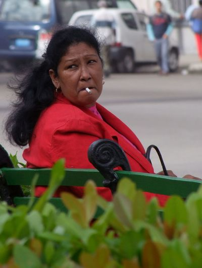 Cuban Smoker Abundance Close Up Close-up Cuba, Havana, Smoker, Cigarette, Park, Woman, Female Day Fun Happiness Innocence Leaf One Person Person Plant Red Selective Focus Sitting Still Life