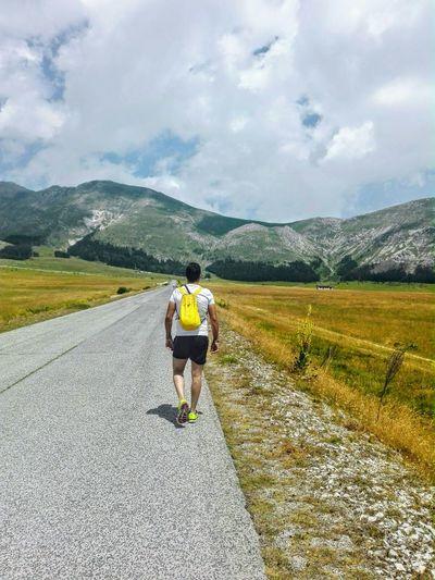 Italy❤️ Yellow World Yellow Man Eyemphotography Eyem Nature Lovers  Eyem Collection Abruzzo, Italia Mountain Escape Sportsman Mountain Men Road