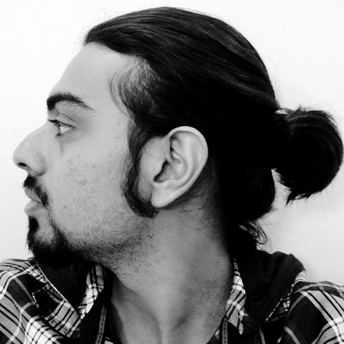 Black and white close up portrait of man bun hairstyle with french cut beard. Black And White Black & White Black And White Portrait Man Bun Hairstyle French Beard Goatee Beard Man Grooming Men Fashion Indian Asian  Hair Style Beardlover Beardlife Beardman Side View Pony Tail  Monochrome Grayscale