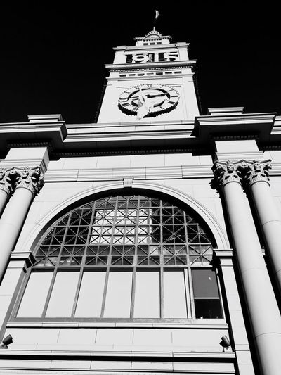 """""""2:45"""" Dramatic black and white closeup of the San Francisco Ferry Building on the Embarcadero. Historical Place Historical Building Urban Geometry Architecturelovers Architecture Urbanexploration Cityscapes Urbanphotography Embarcadero San Francisco Ferrybuilding Blackandwhite Blackandwhite Photography"""