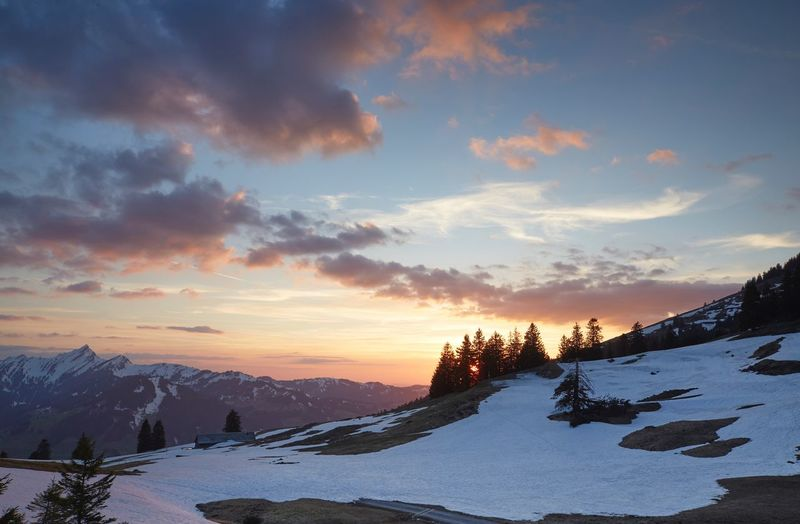 Spring Snow Winter Cold Temperature Sky Beauty In Nature Cloud - Sky Scenics - Nature Sunset Mountain Tranquility Tranquil Scene Environment Mountain Range Non-urban Scene Nature Snowcapped Mountain Landscape Idyllic Mountain Peak No People