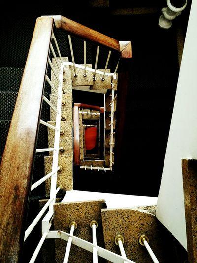 High angle view of narrow staircase