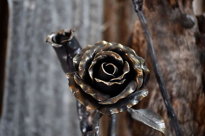 Brown Color Creativity Metalwork Art And Craft Flower Rose🌹 EyeEm Selects Close-up Focus On Foreground No People Metal Day Shape Sunlight Selective Focus Pattern